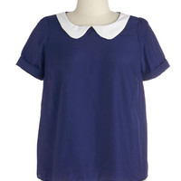 ModCloth Nautical Short Sleeves Guest Appearance Top in Navy in Plus