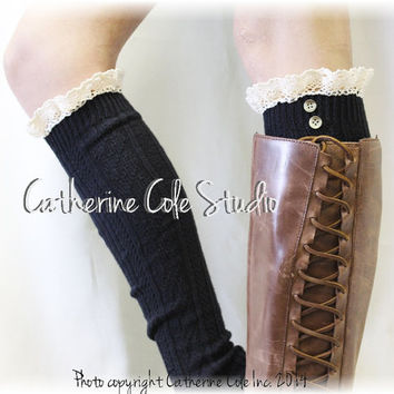 SWISS LACE black Lace boot socks womens boot socks ladies  tall boot socks knee socks tall lace socks buttons Catherine Cole Studio BKS9