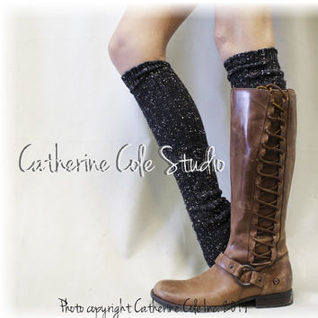 ALPINE ADORE in Black Flecks  tall boot socks knit boot socks womens socks tweed socks leg warmers tall socks Catherine Cole Studio BKS0