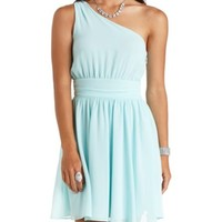 RUCHED ONE SHOULDER CHIFFON DRESS