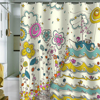 DENY Designs Home Accessories | Rebekah Ginda Design Floating To The Edge Shower Curtain