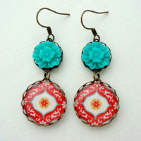 Turquoise and Red Earrings Flowers Gift for her by WearitoutJewelz