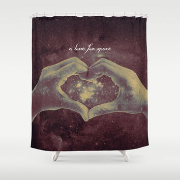 a love for space Shower Curtain by Timothy Davis