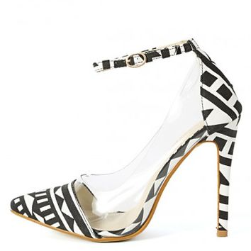 Liliana Olga-1a Tribal Clear Ankle Strap Pumps | MakeMeChic.com
