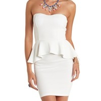 Textured Strapless Peplum Dress