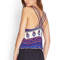 Woven-Crossback Crop Top