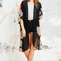 Vintage O & O Kimono in Black and Orange - Urban Outfitters