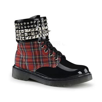 "Women's ""Rage"" Boots With Ankle Cuff by Demonia (Black/Red Plaid)"