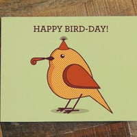 Happy Bird-Day Birthday Card - Funny Card, Greeting Card, Bird Pun, Funny Birthday Card, Happy Birthday Card, Animal Art