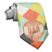 Best Dad Ever Checkerboard Tie