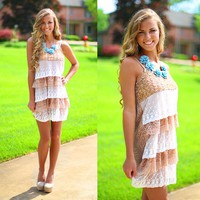 Tiers of Lace Dress in Taupe