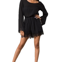 Doll House Lace Trim Romper - Black | Daily Chic