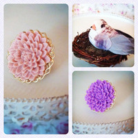 Pink Chrysanthemum RingAdjustable by labellemoon on Etsy