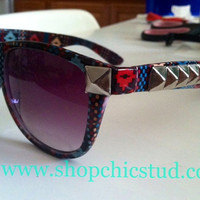 Studded Sunglasses Dark Tribal Aztec Print by xxSweetStudxx