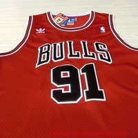 Dennis Rodman Chicago Bulls 91 Hardwood Classic Throwback Swingman NBA Basketball Jersey