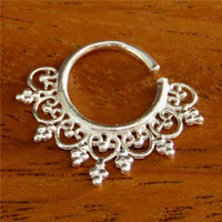 Beautiful Silver Septum For Pierced Nose - Nose jewelry - Septum Jewelry - Indian Nose Ring - Ethnic Septum - Septum Piercing