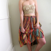Vintage Rainbow Peasant Gypsy Skirt by inzoopsia on Etsy