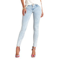 "REFUGE LIGHT ACID WASH ""SKIN TIGHT"" DENIM LEGGINGS"