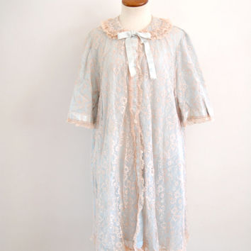 blue cream lingerie robe - 50s vintage lace ribbon peignoir - Odette Barsa peter pan collar bed jacket - one size