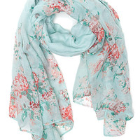 With Love From CA Floral Printed Scarf - Womens Scarves - Green - One