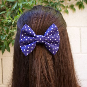 Navy Blue Polka Dots Hair Bow