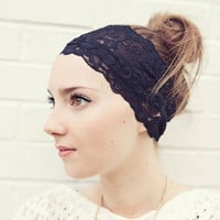 Wide Floral Stretch Lace Headband in your choice of colors