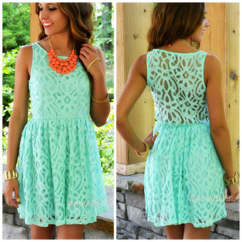 I Love Lacy Mint Lace Sleeveless Dress