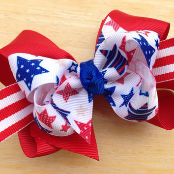 Stars & stripes double boutique bow - patriotic hair bow, red white blue bow