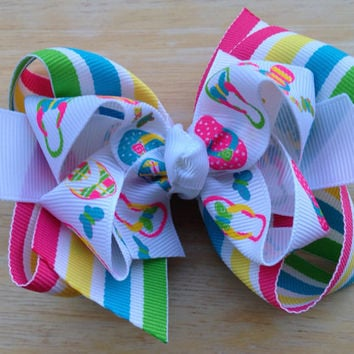 Summer time double boutique bow - flip flop bow, summer striped bow