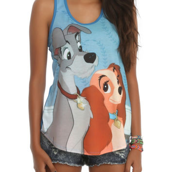 Disney Lady And The Tramp Lovely Couple Girls Tank Top