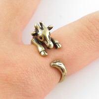 Vintage-Gold Giraffe Wrap Ring | KejaJewelry - Jewelry on ArtFire