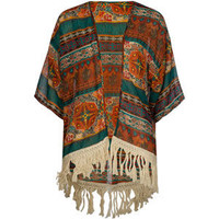 Full Tilt Tribal Print Girls Fringe Kimono Multi  In Sizes