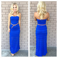 Thrill of Brazil Strapless Maxi Dress - ROYAL BLUE