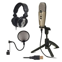 CAD Audio U37 USB Studio Recording Microphone with Audio Microphone Pop Filter & CAD Audio MH110 Recording Studio Headphones