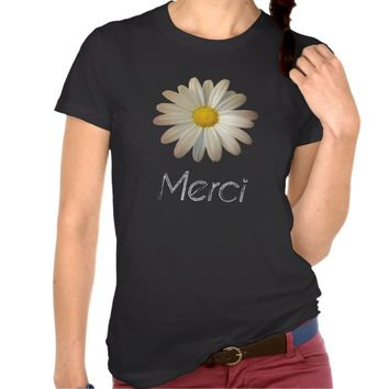 Vintage Daisy Print and Merci Typography T-Shirt
