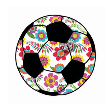Floral Soccer Ball Decal - Colorful Flower Car Decal Sporty Laptop Decal Vinyl Bumper Sticker Teal Turquoise Pink Green Yellow