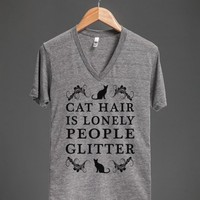 cat hair is lonely people glitter vneck - glamfoxx.com - Skreened T-shirts, Organic Shirts, Hoodies, Kids Tees, Baby One-Pieces and Tote Bags