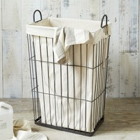 Linen Lined Wire Hamper - Rectangle