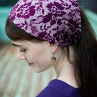 MAROON LACE strap head wrap hair band by GarlandsOfGrace on Etsy
