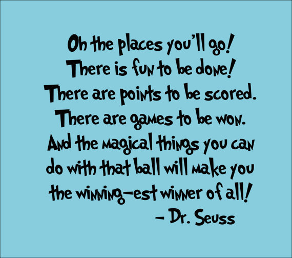 Dr Seuss Wall Decal 'Oh The Places You'll Go' Quote by InitialYou