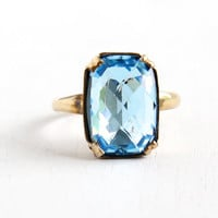 Vintage 10k Gold Filled Blue Foiled Back Glass Stone Uncas Ring- Size 6 1/2 Late Art Deco 1940s Emerald Cut Faceted Jewelry