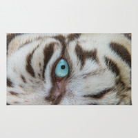 EYE OF THE WHITE TIGER Area & Throw Rug by Catspaws | Society6
