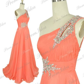 Coral Prom Dress One Shoulder Long Prom Dresses Crystal Chiffon Bridesmaid Dress Wedding Party Dress Formal Dress Evening Dress