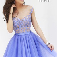 Sleeveless Bateau Neckline Cocktail Dress by Sherri Hill