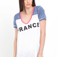France Deep V Tee in White, Blue & Red