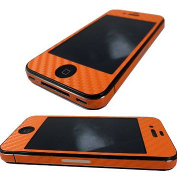 TCD - Orange iPhone 4 4G 4S Carbon Fiber Full Body & Side Skin Sticker Set