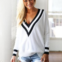 White Black Trimmed Sweater