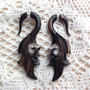 Fake Gauge Earrings Organic Hand Carved Wood Very by EarringChest