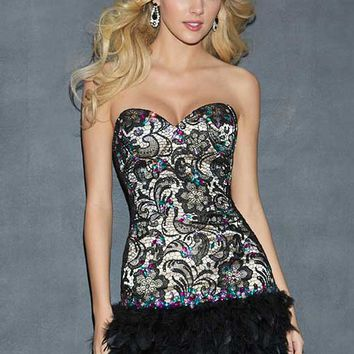 Night Moves 7005 Strapless Lace and Feathers Short Dress