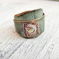 Rustic Wide Band Copper Ring Overlapped style Horseshoe Stamped | WestWindCreations - Jewelry on ArtFire